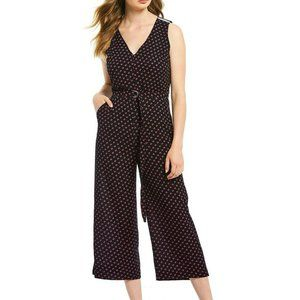 Michael Kors Dot Print Cropped Jumpsuit Belted